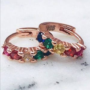 Rose Gold Multi-Colored CZ Vermeil Huggies, NWT